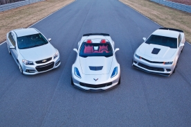 (L to R) The Chevrolet SS sedan, Corvette Z06, and Camaro Z/28