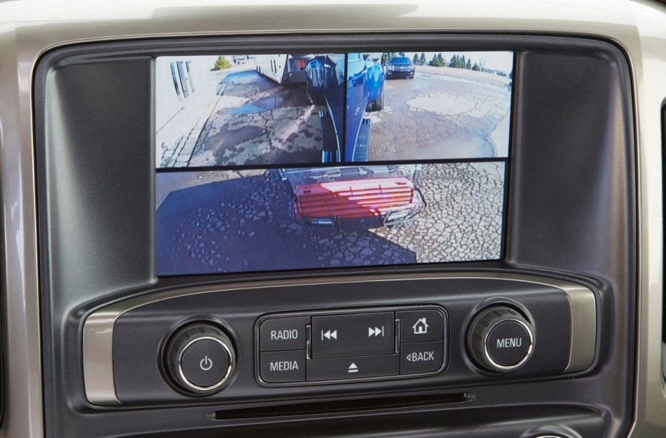 New Silverado Trailering Camera System, produced by Echomaster, for 2014-2016 model year Silverados. The system is fully integrated with the Silverado infotainment system, providing images from up to four cameras on the center display.