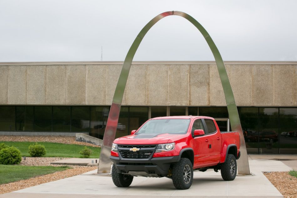Chad Hall's Chevrolet Colorado ZR2 in front of the Wentzville, Missouri Assembly plant.