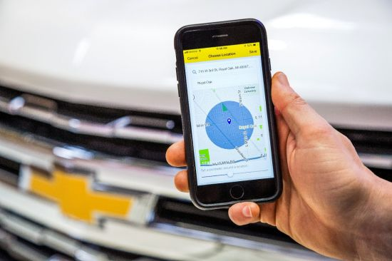 Vehicle Locate allows Chevy owners to send automated text alerts to friends and family when their connected vehicle enters or leaves a designated boundary area, or arrives at or departs from an address.